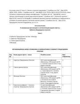 Pravilnik kabinet Predsjednika 2016