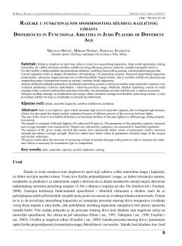 razlike u funkcionalnim sposobnostima džudista različitog - SiZ-AU