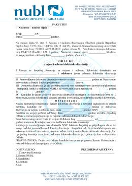 procedura 15 – odluka nnv – ocjena i odbrana dd