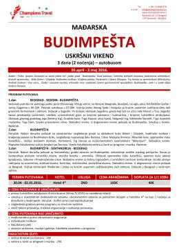 Budimpešta – 30.04. – 02.05. – BUS