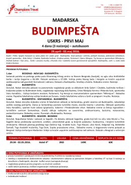 Budimpesta Uskrs i 1.maj – 4 dana