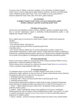 Javni poziv za dodjelu Nagrade Grada Tuzla za