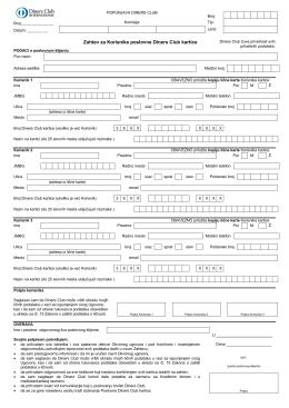 Zahtev za dodatne kartice