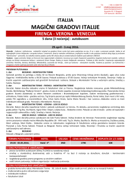 Firenca Verona Venecija Uskrs