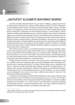 "Milan Ristić: ""JASTUČIĆI"" ELIZABETE MATORKIĆ BISENIĆ"