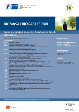 Program konferencije Biomasa i biogas u Srbiji 2016