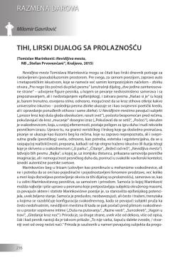 Milomir Gavrilović: TIHI, LIRSKI DIJALOG SA PROLAZNOŠĆU
