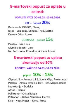 8. martovski popust Krf, Evia, Olimpska, Halkidiki