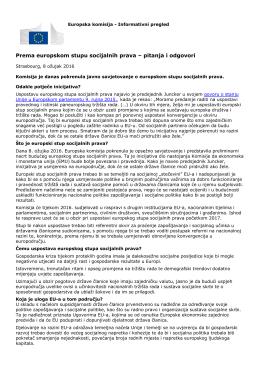 Prema europskom stupu socijalnih prava – pitanja i