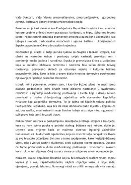 Govor ministra kulture dr. sc. Zlatka Hasanbegovića episkopu