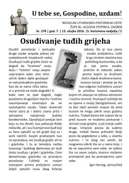 Osuđivanje tuđih grijeha - Župa bl. Alojzija Stepinca, Zagreb