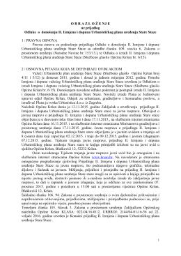 Obrazloženje uz prijedlog Odluke o donošenju II. Izmjena i dopuna