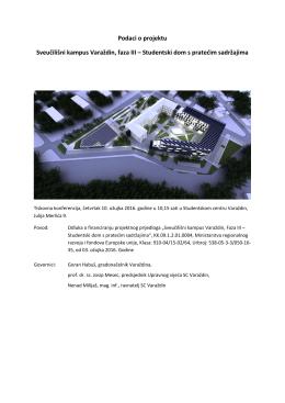 Podaci o projektu Sveučilišni kampus Varaždin, faza III – Studentski