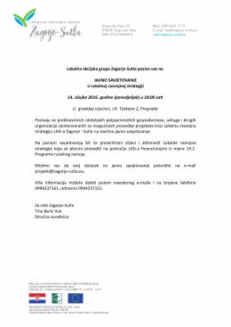 Lokalna akcijska grupa Zagorje-Sutla poziva vas na JAVNO