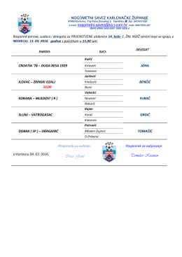 Raspored službenih osoba za vikend 13. 03. 2016