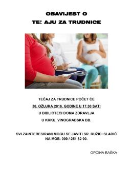 Obavijest o tečaju za trudnice