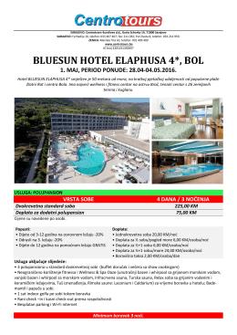 1. maj 2016 - hotel elaphusa 4* - bol