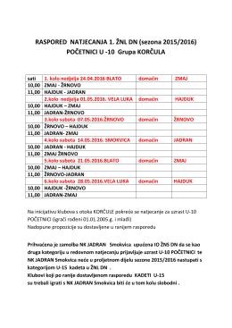 RASPORED NATJECANJA 1. ŽNL DN (sezona 2015/2016