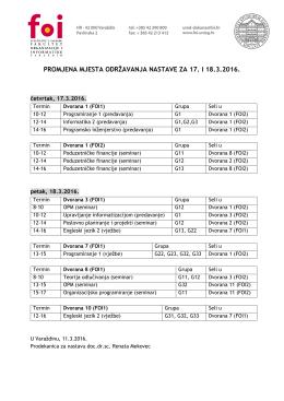 promjena mjesta održavanja nastave za 17. i 18.3.2016.