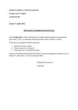 OSNOVNA ŠKOLA CVJETNO NASELJE Cvjetna cesta 17, Zagreb
