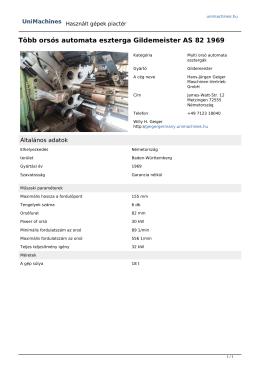 Több orsós automata eszterga Gildemeister AS 82