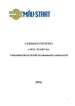 Tájékoztató füzet 2016 - MÁV