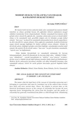 modern hukuk ve islam`da vatandaşlık