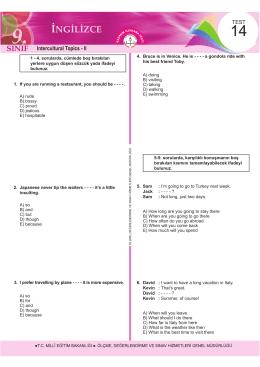 Intercultural Topics - II - Ölçme, Değerlendirme ve Sınav Hizmetleri