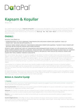 Kapsam & Koşullar - DataPal üyelik Aktivasyonu