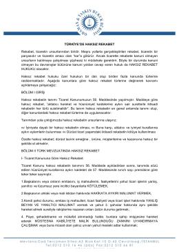 Türkiye`de Haksız Rekabet