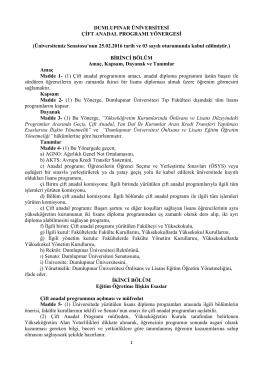 Çift Anadal Yönergesi - Dumlupınar Üniversitesi