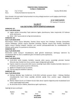 u16 tertip komitesi kararı