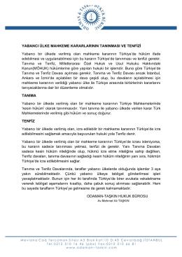 Türkiye`de Yabancı Mahkeme Kararlarının