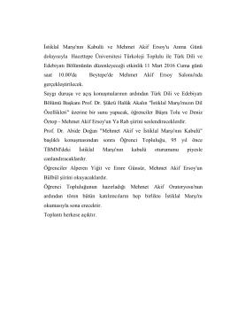 İstiklal Marşı`nın Kabulü ve Mehmet Akif Ersoy`u Anma Günü