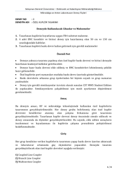Deney 3: Özel Kuplör Tasarımı - Süleyman Demirel Üniversitesi