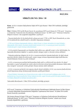 sırk 2016-18 arge merkezleri ile ilgili yeni