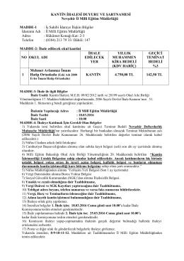 kantin ihalesi şartnamesi - nevşehir il millî eğitim müdürlüğü