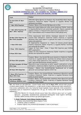T.C. BALIKESİR ÜNİVERSİTESİ Uluslararası İlişkiler Araştırma ve