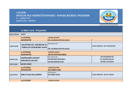 10 Mart 2016 - 1. Ulusal Antalya Aile Hekimliği Kongresi