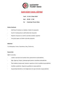 ileri düzey excel eğitimi - Gaziantep Ticaret Odası