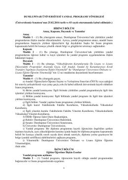 Yandal Programı Yönergesi - Dumlupınar Üniversitesi