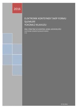 Elektronik Konteyner Takip Formu İşlemleri Yükümlü Kılavuzu