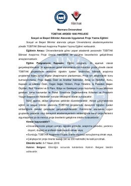 Marmara Üniversitesi TÜBİTAK ARDEB 1000 PROJESİ Sosyal ve