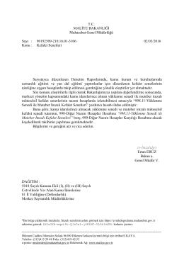 Muhasebat Genel Müdürlüğünün, Kefalet Senetleri İle İlgili Yazısı