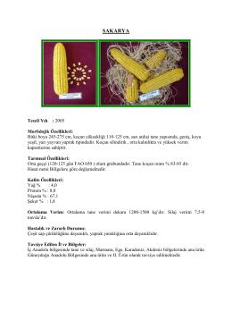 sakarya mısır çeşit özellikleri 2016