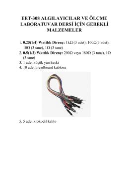 EET-308Algılayıcılar ve Ölçme Laboratuvar malzeme listesi için