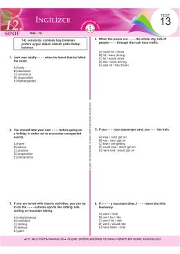 Test - Ölçme, Değerlendirme ve Sınav Hizmetleri Genel Müdürlüğü