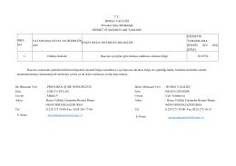 T.C. BURSA VALİLİĞİ Protokol Şube Müdürlüğü HİZMET