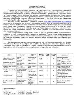 Gümüşhane Üniversitesi Öğretim Üyesi Alım İlanı (08