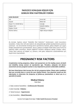 pregnancy rısk factors - İstanbul Halk Sağlığı Müdürlüğü